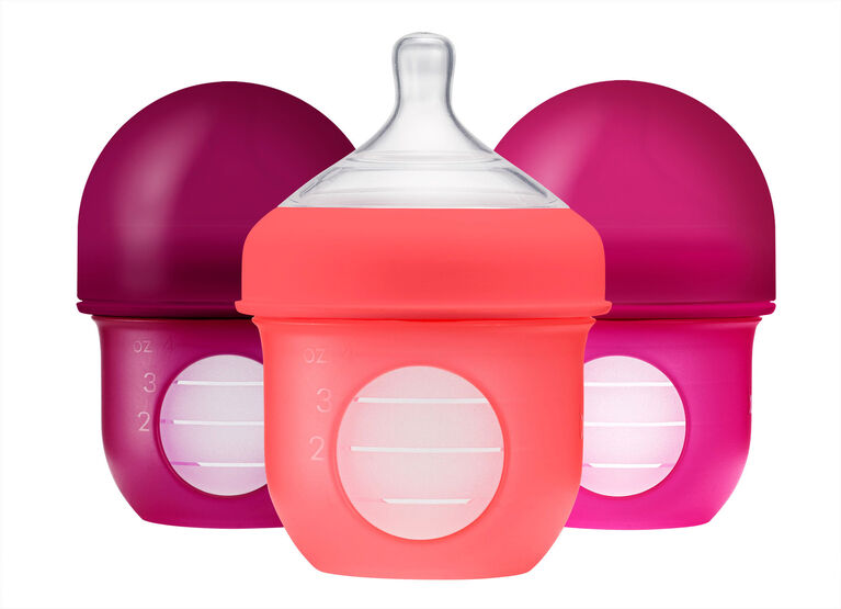 Boon Nursh Silicone Pouch Bottle 4 oz 3-Pack - Pink and Purple