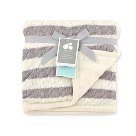 Just Born Awning Stripe Grey Cable Knit Blanket