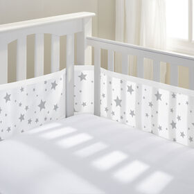 Breathable Baby Crib Liner - Grey Stars