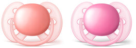 Philips AVENT Ultra Soft pacifier 6-18 Months, 2-Pack - Pink/Peach