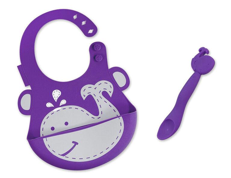 Marcus & Marcus Baby Bib & Feeding Spoon Set - Willo the Whale - Purple.