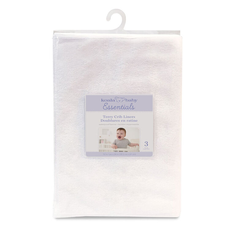 Alèses En Tissu Éponge Imperméable Multi-Usage Emballage De 3 - 12 Po X 24 Po (30 X 61 Cm) - Blanc Koala Baby.