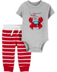 Carter's 2-Piece Crab Bodysuit Pant Set - Red/Grey, Newborn