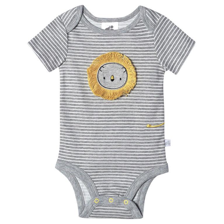 Lot de quatre maillots biologiques Onesies à manches courtes pour nouveau-né garçon – Petit Lion 12 mois
