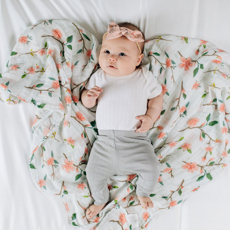 Red Rover - Cotton Muslin Swaddle Single - Peach Blossom - R Exclusive