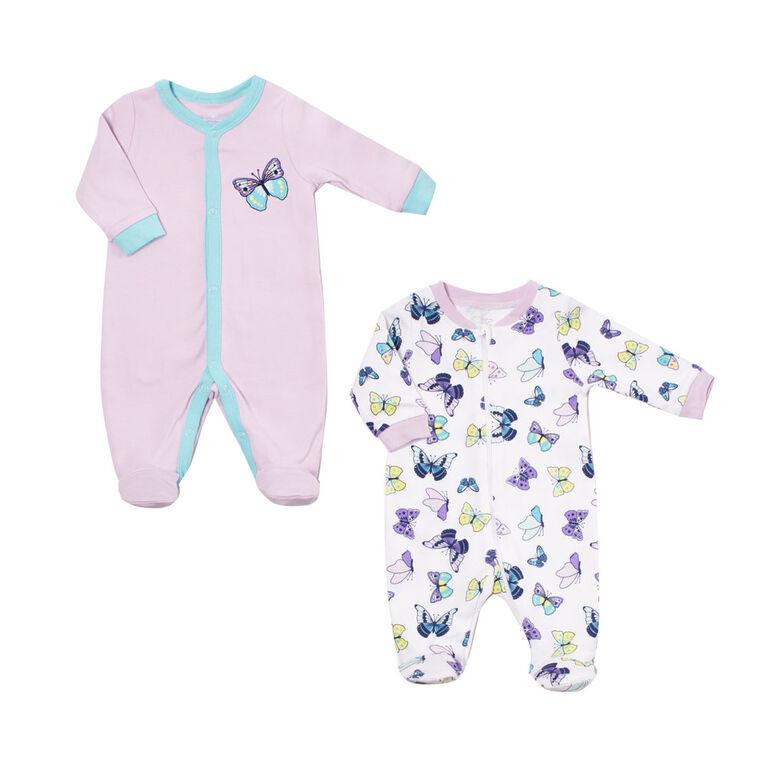 Koala Baby Girls 2-Pack Sleeper- Butterflies 6-9  Months