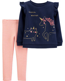 Carter's 2-Piece Unicorn Fleece Top & Striped Legging Set - Navy, 3 Months