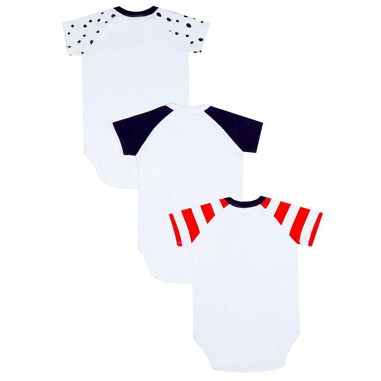 earth by art & eden - Bailey Bodysuit - 3-Pack L/S Bodysuit - Whisper - White Multi, 12 Months