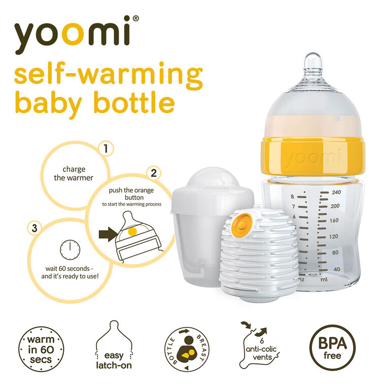 yoomi Warmer for the yoomi 5oz or 8oz Easy-Latch™ Bottles with Microwave Charging Pod