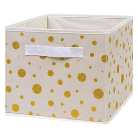 Gold Foil Dot Canvas Storage Bin
