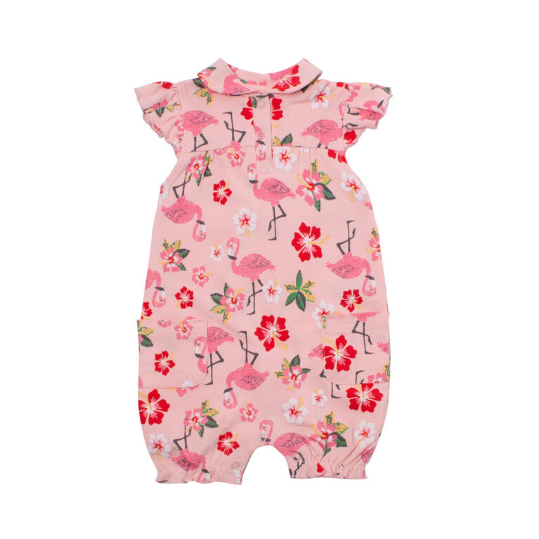 Snugabye Girls-Collar Floral Romperwith Ruffle Sleeve 12 Months