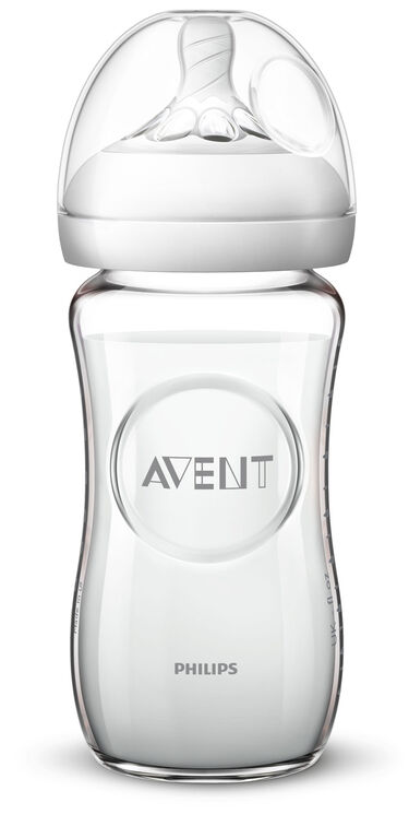 Biberon Philips Avent Naturel en verre, 8 oz, emb. de 1.