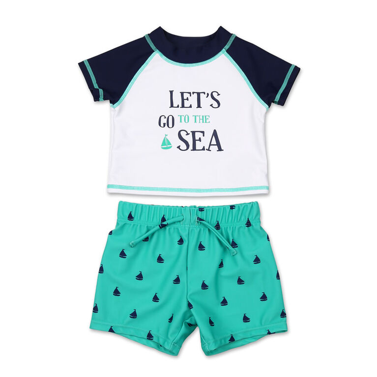 Koala Baby 2Pc Short Sleeve Let's Go To The Sea Rash Guard With Trunk, 12 Months