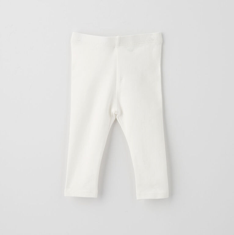 organic play legging, 6-9m - white