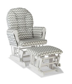Hoop Glider and Ottoman - White/Gray Chevron.