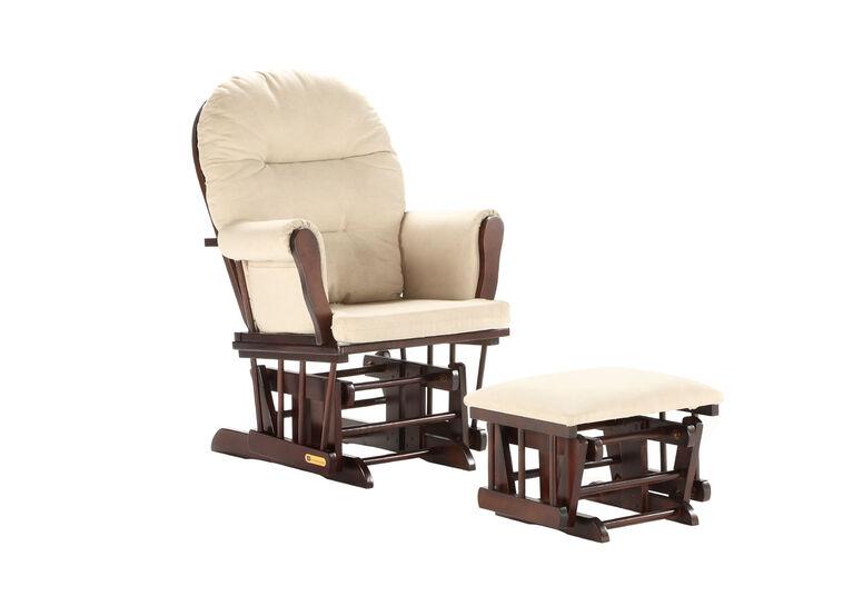 Lennox Furniture Jesse Espresso Glider & Ottoman - Pearl Beige