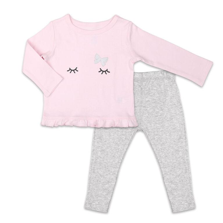 Ensemble chemise et pantalon Koala Baby Tiny Dancer, rose/gris - Jusquà - 3 Mois