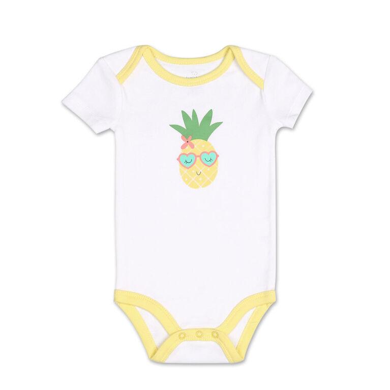 Koala Baby 4Pk Short Sleeved Bodysuit, G Pineapple, 3-6 Months