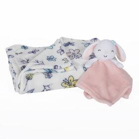Premier ensemble en 2 pièces pour bébé, couverture et bébé ami - Lapin