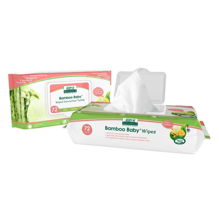 Lingettes Sensitive Aleva Bamboo - 72ct.