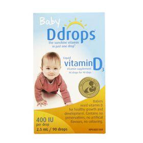 D Drops Pour Bébéun Supplément de Vitamine D3 90 Gouttes.