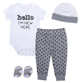 Baby Essentials Hello I' Months new here - 4-Piece Layette Set 0-3 Months