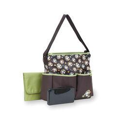 Sac a couches de luxe style fourre-tout a motif de singes avec etui a lingettes de Baby Boom - brun/vert.