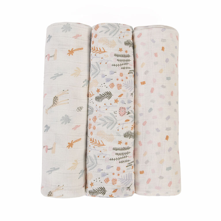 Baby's First by Nemcor 3 Pack Cotton Muslin Receiving Blankets, Floral