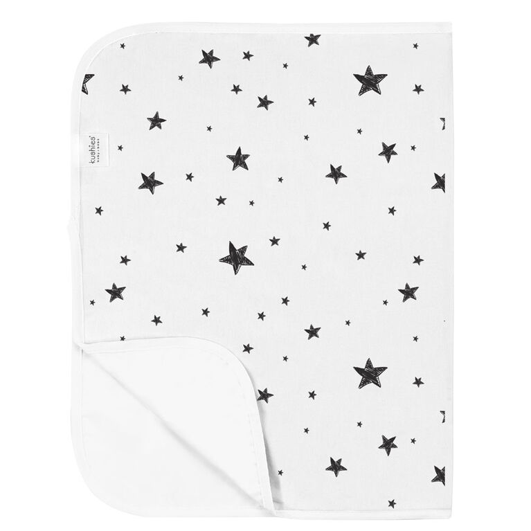 Kushies Portable Changing Pad Liner Flannel Black & White Scribble Stars