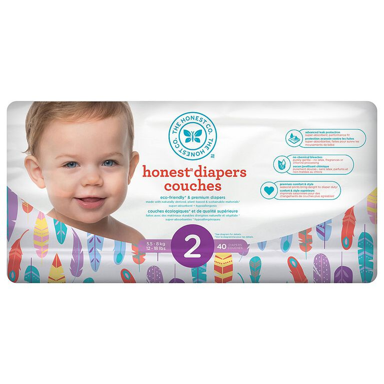 Honest Diapers Size 2 Painted Feathers.