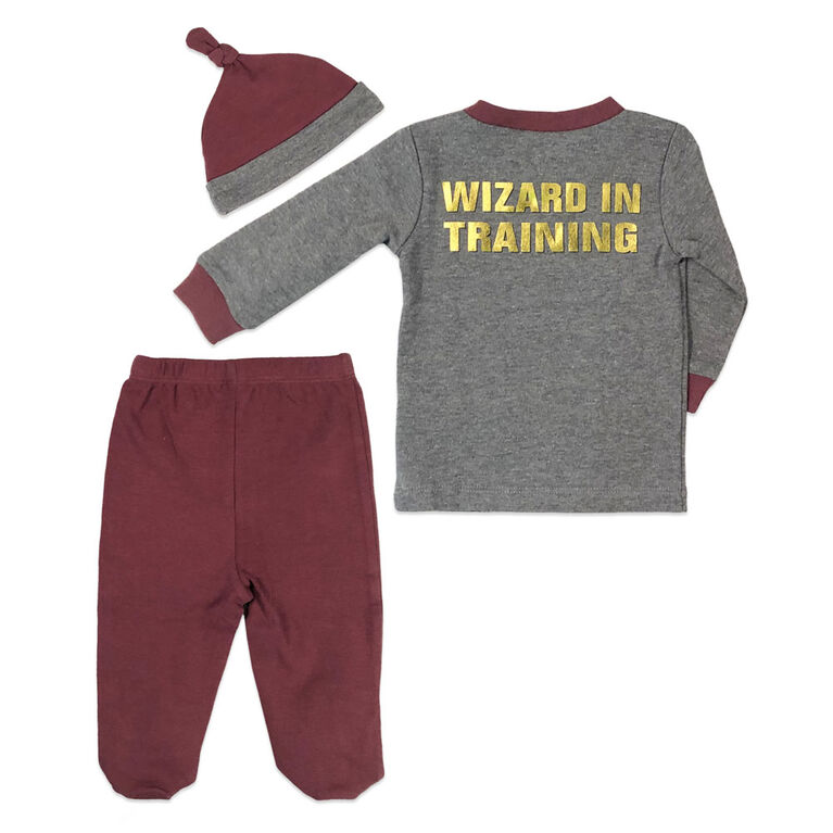 Harry Potter 3 Piece Layette Set - Grey, 3 Months.