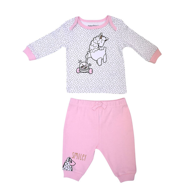Fisher Price 2piece Pant set - Pink, 6 months