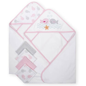 Koala Baby 2-Pack Hooded Towel & 4-Pack Washcoth Set, Pink Whales