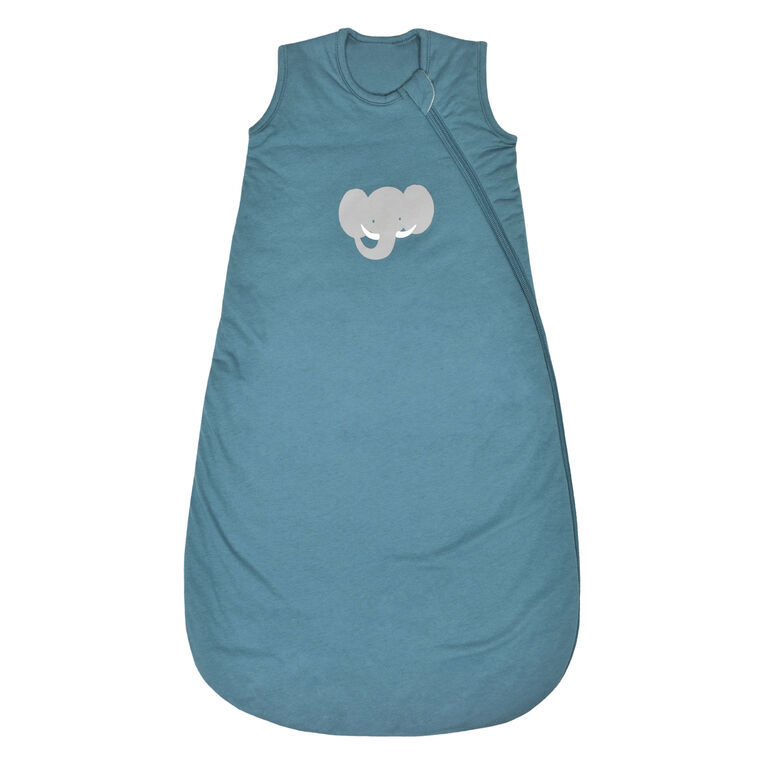Perlimpinpin Quilted cotton sleep bag - Blue elephant, 0-6 Months