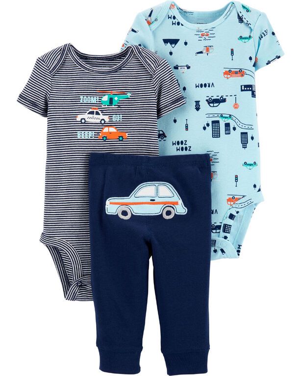 Carter's 3-Piece Cars Little Character Set - Blue, 3 Months