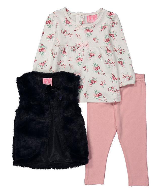 Mini Moi - Girls 3 Piece Vest Set: Floral - 12-18 Months