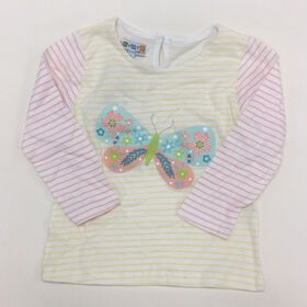 Coyote and Co. Muliti Stripe Long Sleeve tee with Butterfly Print - size 9-12 months