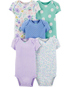 Carter's 5-Pack Patterned Original Bodysuits - Purple/Blue/Turquoise, Newborn