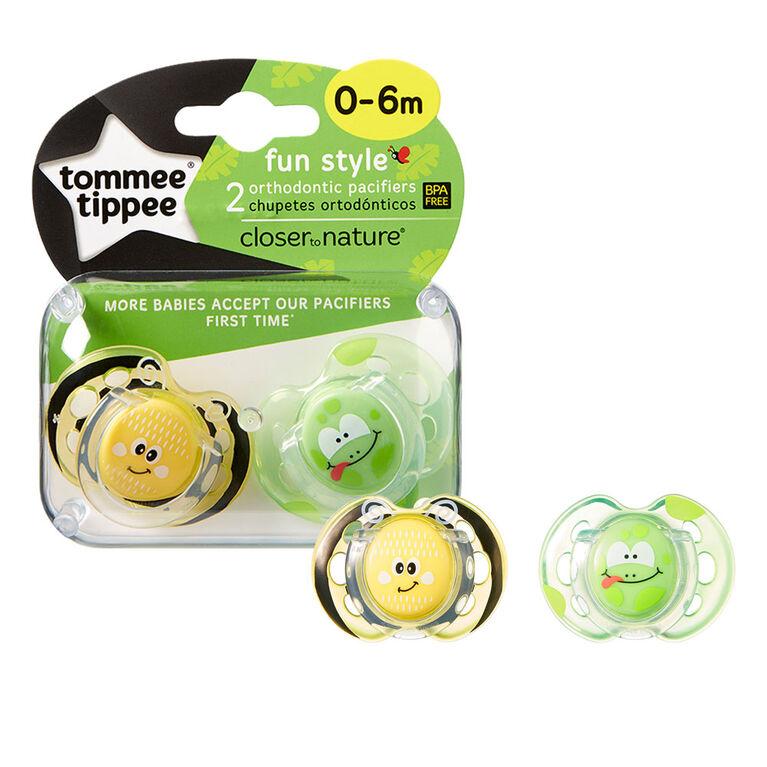 Sucette Fun Style 0à6mois de Tommee Tippee (paquet de2) - vert.