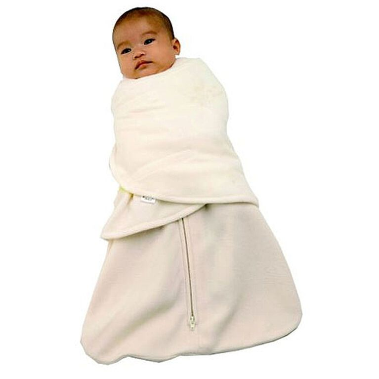 Couverture-sac emmaillotage SleepSack Halo de laine polaire - Crème - Nouveau-né.