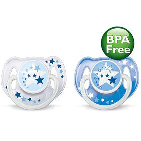 Philips AVENT - BPA Free Nighttime Pacifier, 6-18 Months, 2-Pack, White/Blue