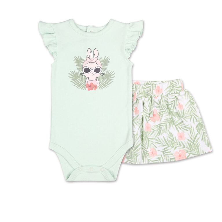 Koala Baby Tropical Girl Bunny Bodysuit/Floral Skirt 2 Piece Set, 3-6 Months