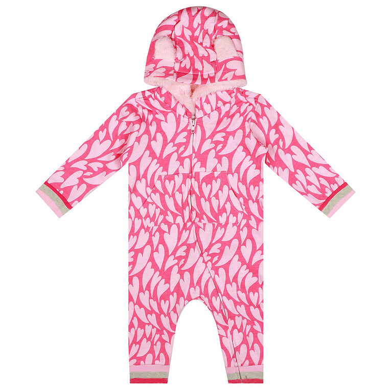 earth by art & eden - Shanna Coverall - Hooded Coverall - Powder Pink Multi, 18 Months