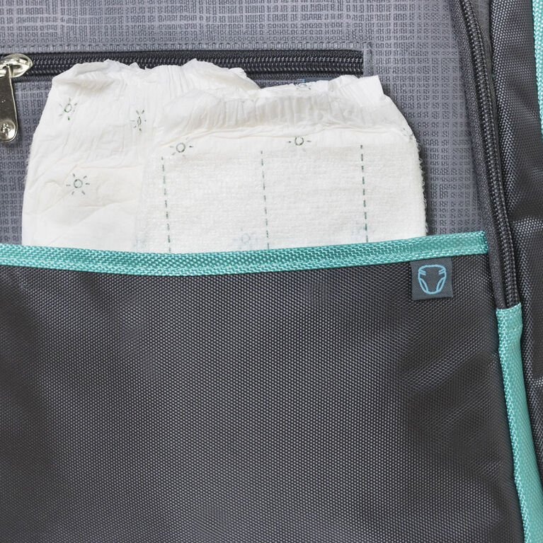 Fisher Price Riley Backpack Diaper Bag - Grey/Aqua
