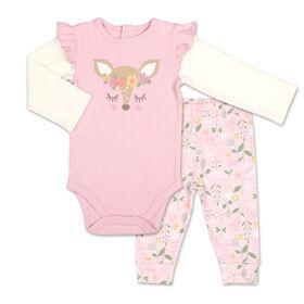 Ensemble 2pièces Koala Baby Petit Faon - combinaison et pantalon de sport à motif floral, 12 Mois