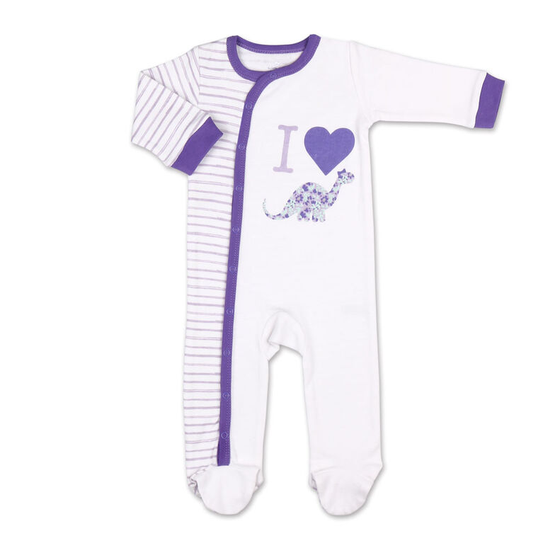 Koala Baby Purple Dino Stripes Sleeper, Newborn
