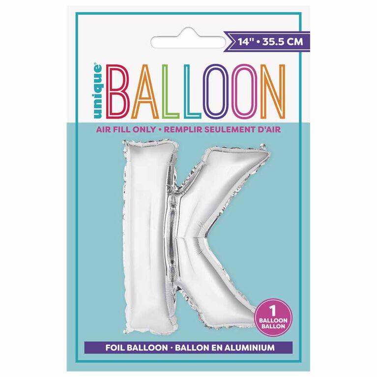 """Ballons en forme de lettre en argent 14 """" - K"""