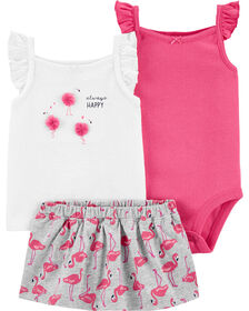 Carter's 3-Piece Flamingo Diaper Cover Set - Pink/White, 12 Months
