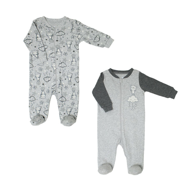 Koala Baby Neutral 2 Pack Sleeper - Bears Grey, Newborn