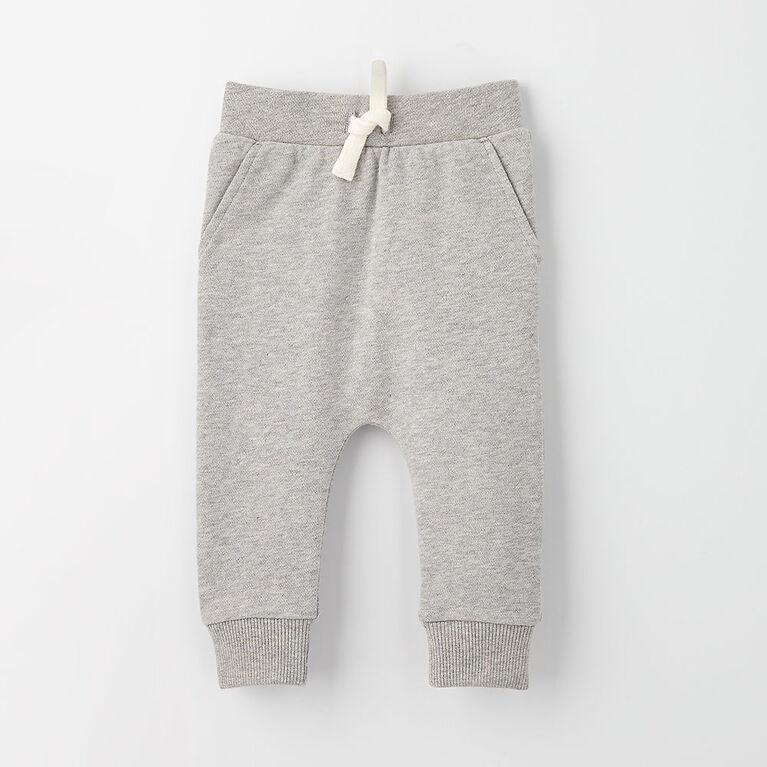 drop-crotch cozy sweats, 6-9m - grey mix